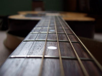Guitar strings: looking down the neck.
